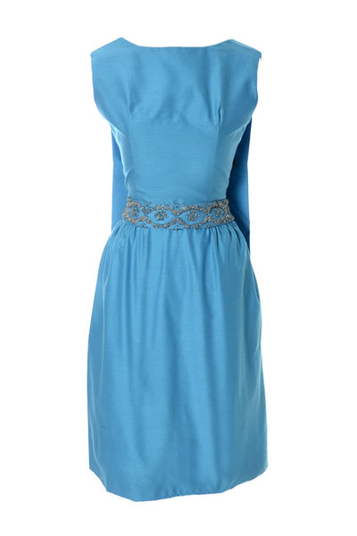 Amazing Blue Suzy Perette Vintage Dress Beaded Belt Removable Back Panel - Dressing Vintage