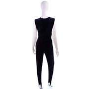 Tapemeasure New York Black Crushed Velvet Stirrup Jumpsuit