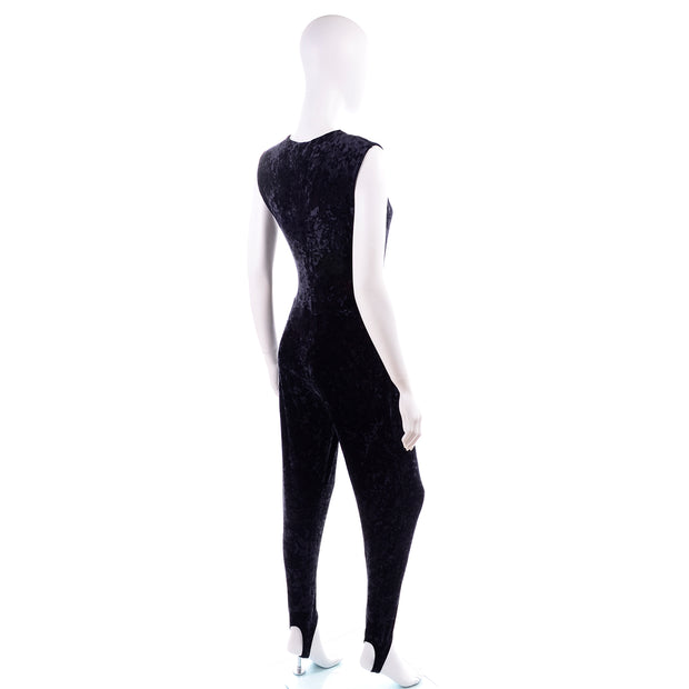 Tapemeasure New York Black Crushed Velvet Jumpsuit stirrups