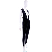 Tapemeasure New York Black Crushed Velvet Jumpsuit w Stirrups