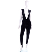 Tapemeasure New York Black Crushed Velvet Jumpsuit Deep V