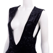 Deep V Tapemeasure New York Black Crushed Velvet Jumpsuit