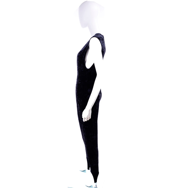 Tapemeasure New York Stirrup Black Crushed Velvet Jumpsuit