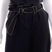 Theodore Vintage Avant Garde 2 Pc Top Pants Outfit in Charcoal Gray