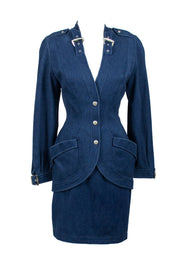 Thierry Mugler Vintage Suit in Blue Denim from the 1980s - Dressing Vintage