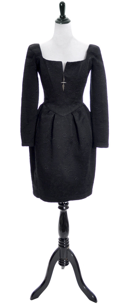 1980's Thierry Mugler Paris Vintage Black Dress Made in France - Dressing Vintage