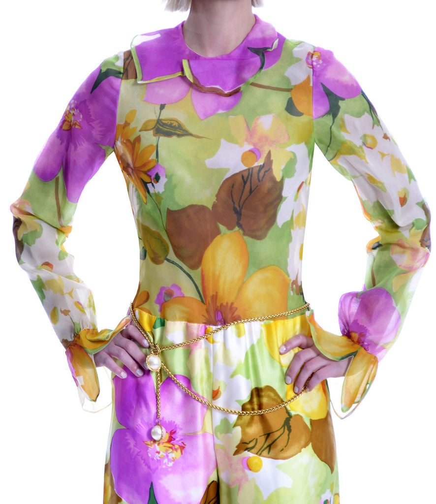 1960s New Tina Leser Jumpsuit Vintage Silk Floral Tulip Sleeves with Vest - Dressing Vintage
