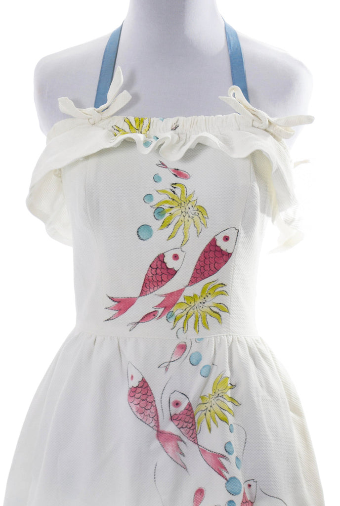 "Museum collectible Tina Leser hand painted dress ""Reef"" signed fish RARE - Dressing Vintage"
