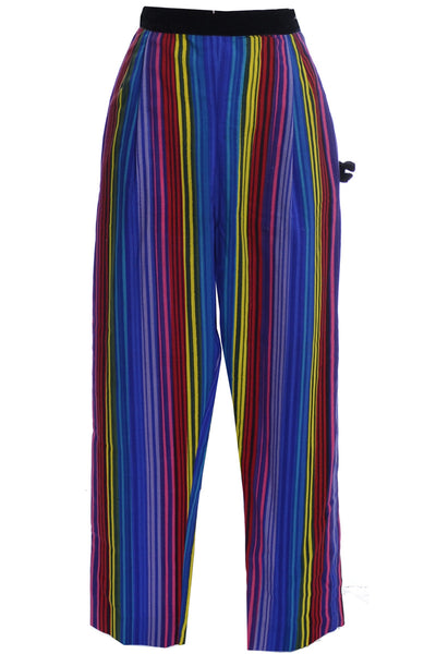 1950s Deadstock Tina Leser Striped Silk Vintage Pants Velvet Trim with Tags - Dressing Vintage