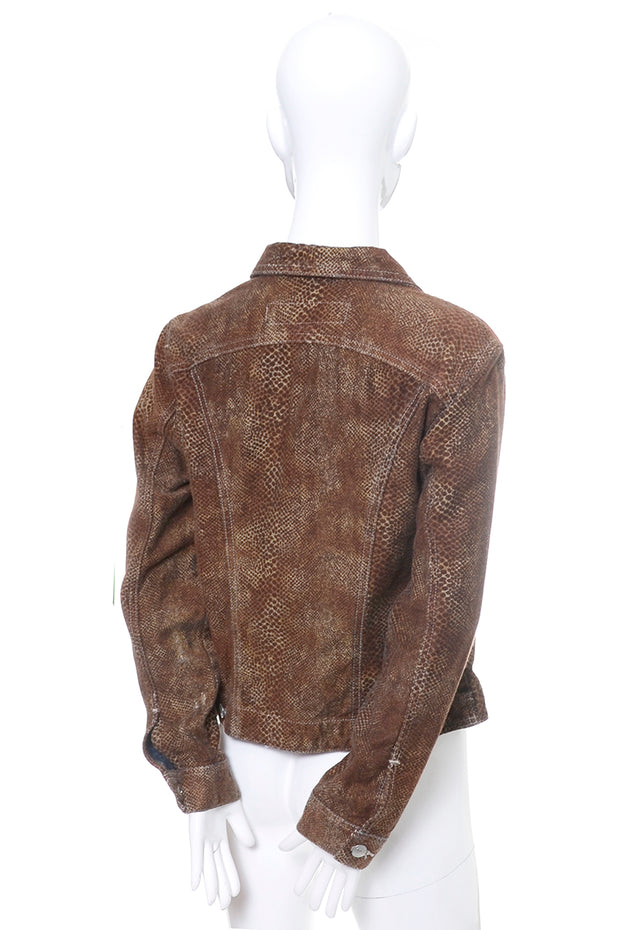 Todd Oldham Vintage Brown Snakeskin Print Denim Jacket 90s