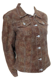 Todd Oldham Vintage Brown Snakeskin Print Denim Jacket