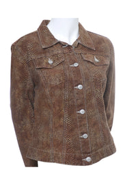 Todd Oldham Vintage Brown Snakeskin Print Denim Jacket 1990s
