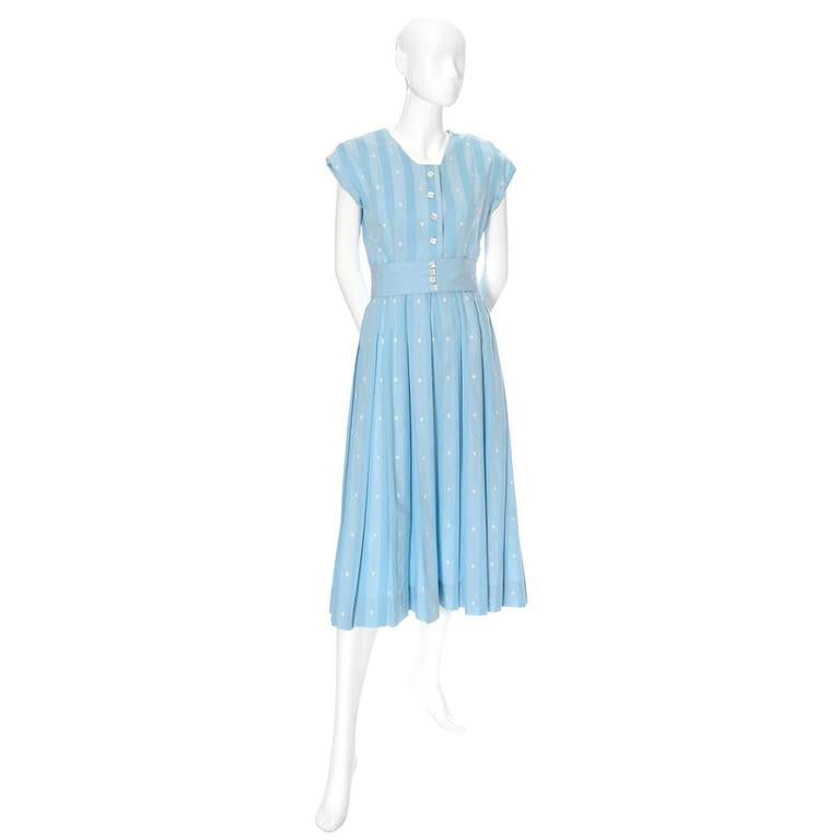 Blue cotton 50's dress worn in Tree of Life by Mrs. O'Brien