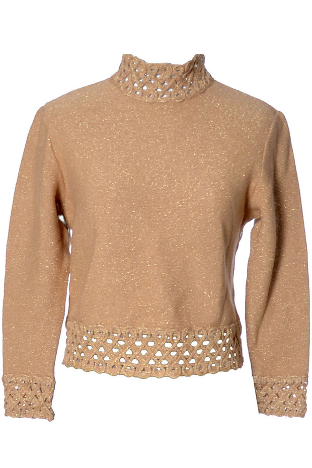 Vintage Tricosa Nouvelle Paris copper gold sparkle top - Dressing Vintage