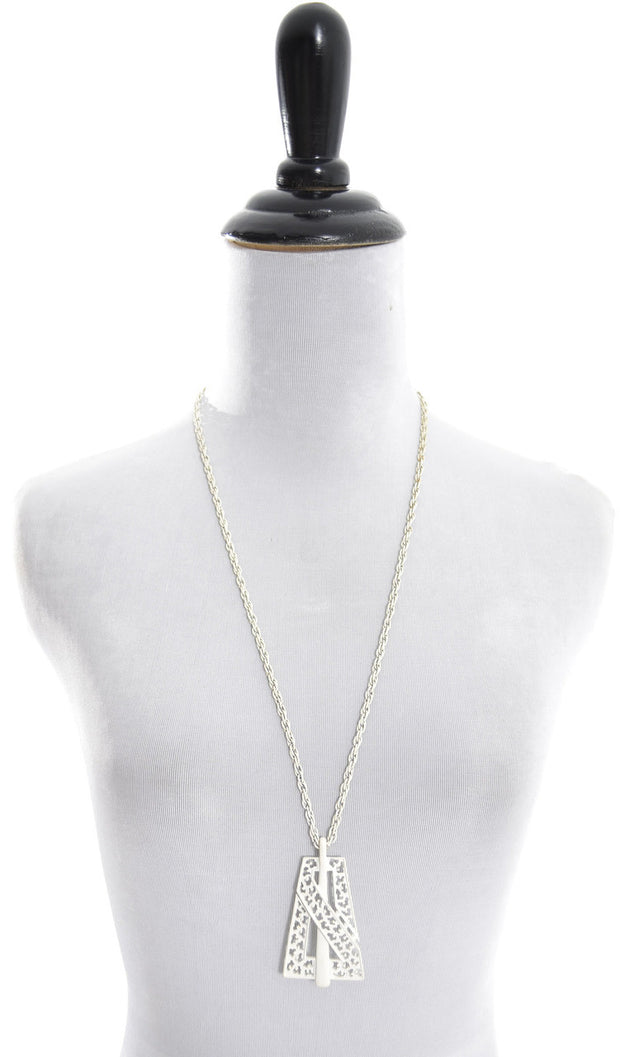 1960's Vintage Trifari White Metal Pendant Necklace T Hang Tag - Dressing Vintage