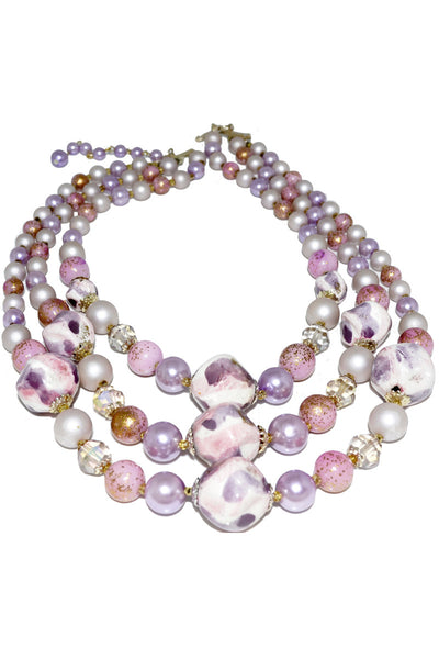 1950's Triple Strand Vintage Necklace Purple Gold Beads - Dressing Vintage