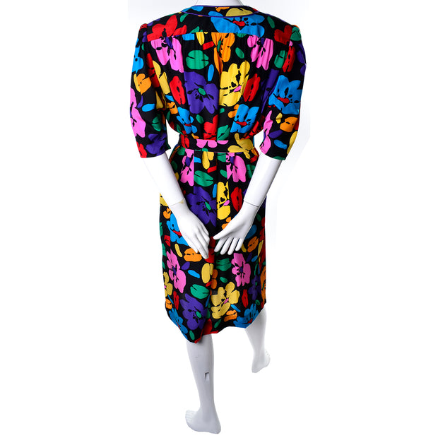Emanuel Ungaro Parallele Vintage Dress in Colorful Floral Silk