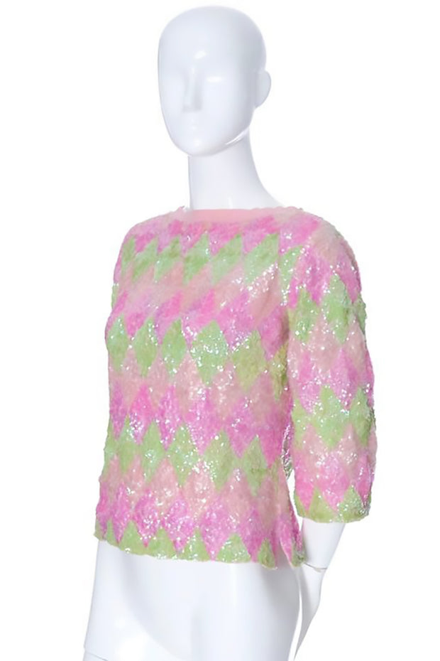 Wool Pink and green sequin sweater