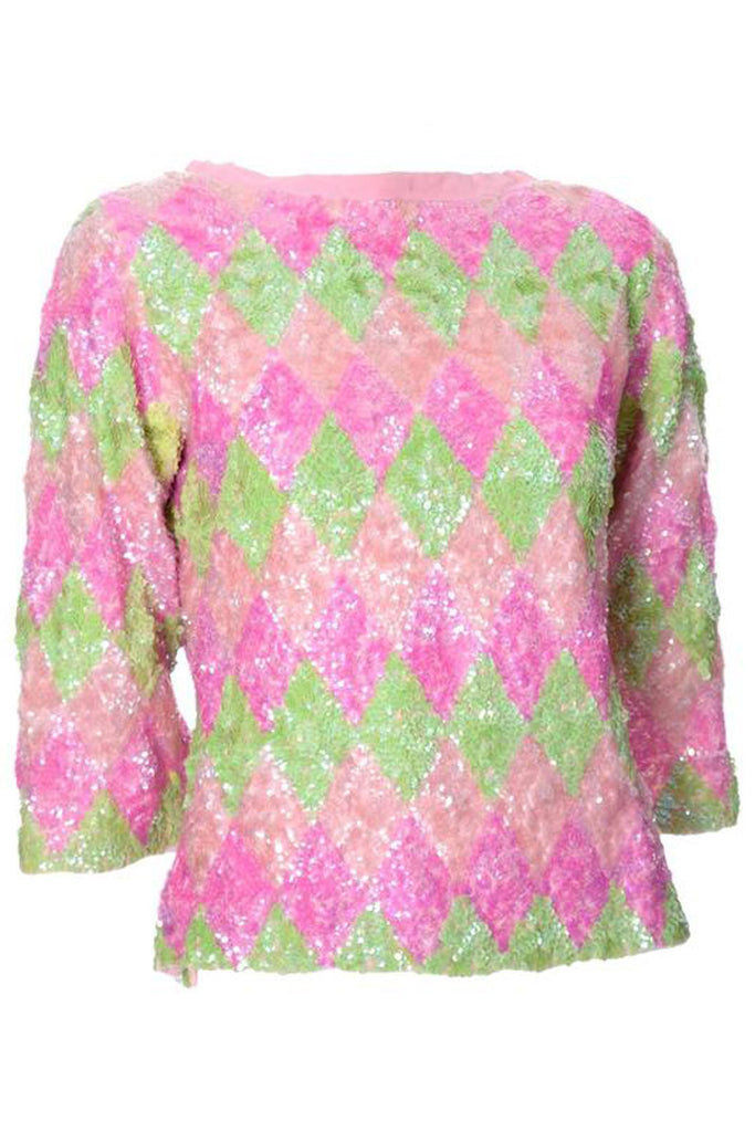Pink and green diamond sequin sweater
