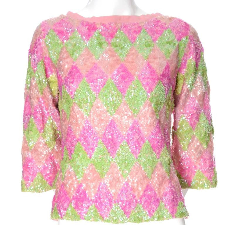 Sequin Pink and green diamond sweater