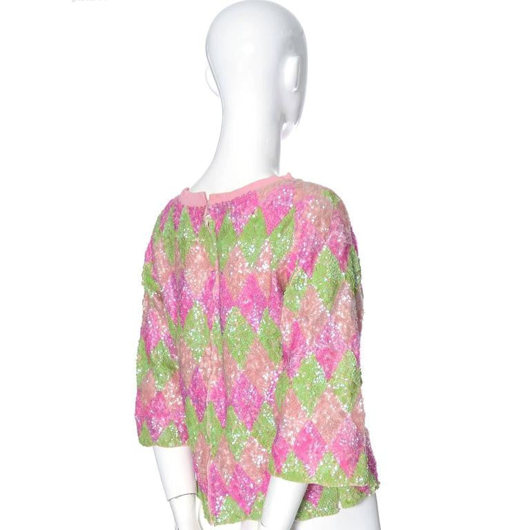 Pink and green 1960's sequin sweater