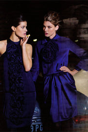 F/W 2008 Valentino ad deep blue silk blouse and skirt