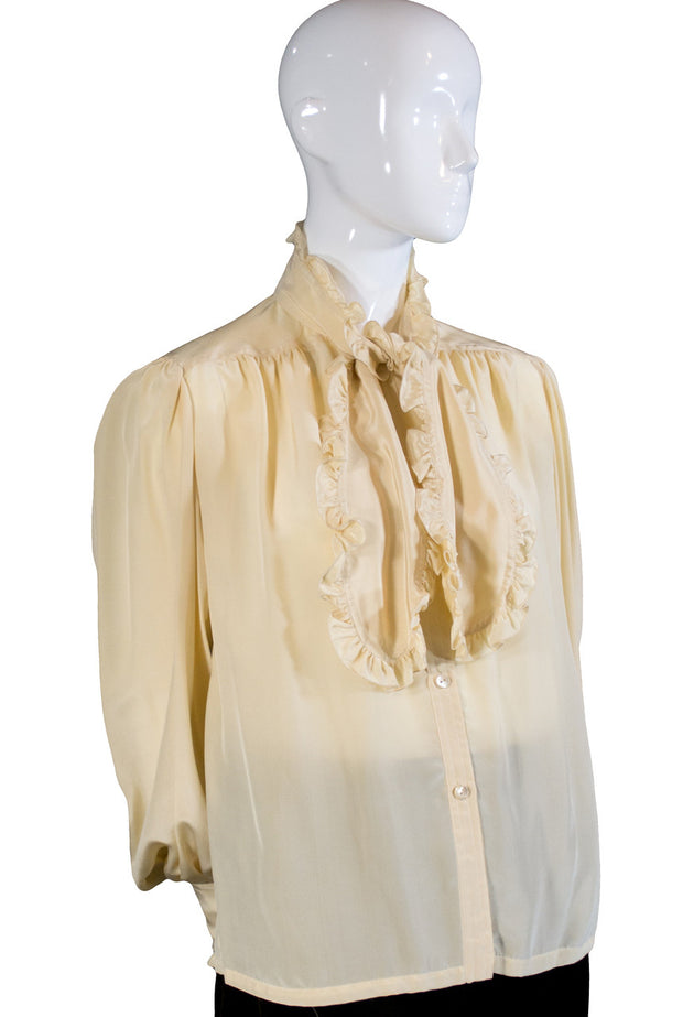 Silk vintage Loewe blouse with ruffled sash SOLD - Dressing Vintage