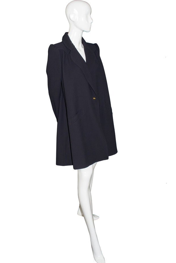 Vintage Valentino Mint condition midnight navy blue swing coat SOLD - Dressing Vintage
