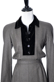 AS NEW Valentino Boutique vintage checked wool designer dress - Dressing Vintage