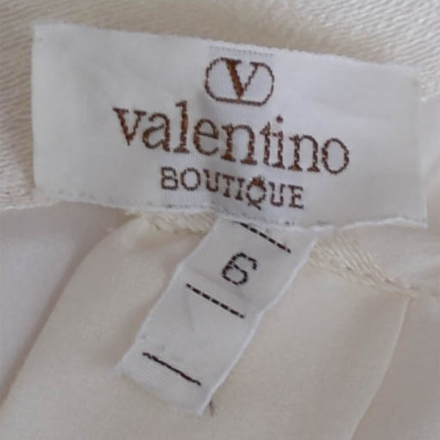 Designer vintage Valentino raw silk and lace blouse with jabot - Dressing Vintage