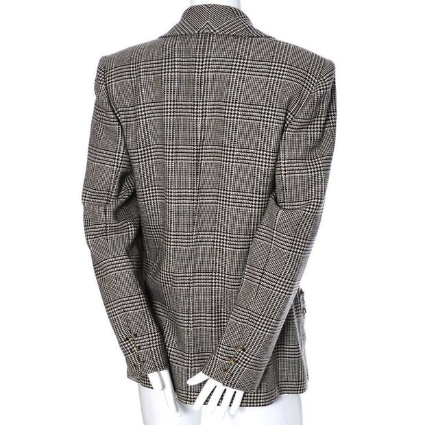 1980's punk Valentino vintage black and white plaid blazer with gold tone rings on the pockets and sleeves