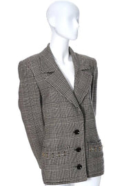 1980s black and ivory plaid vintage Valentino blazer size 10