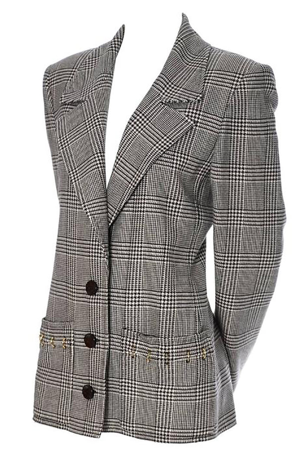 1980's vintage Valentino plaid blazer jacket black and white