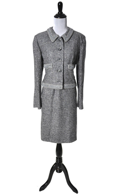 Exceptional Vintage Valentino Wool Silk Skirt Suit with Chain Detail - Dressing Vintage