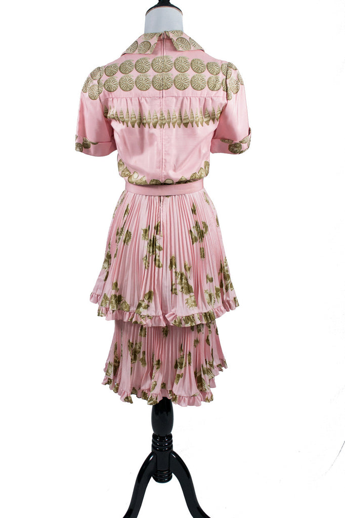 Rare Valentino vintage pink silk seashell dress - Dressing Vintage