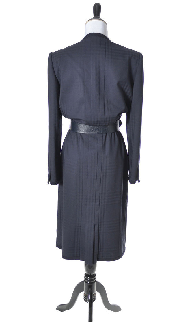 AS NEW Blue Wool Plaid Valentino Vintage Dress - Dressing Vintage