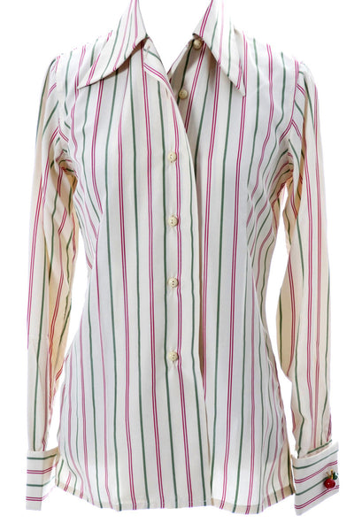 Outstanding vintage Valentino striped blouse with cherry cufflinks - Dressing Vintage