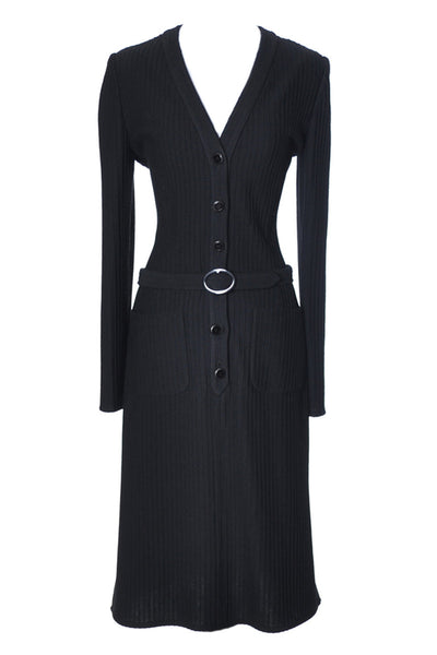 1970s Black Valentino Boutique Vintage Ribbed Knit Dress - Dressing Vintage