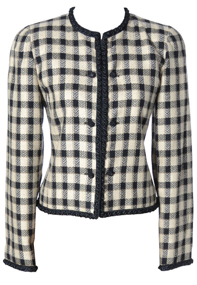 AS NEW 1970s Black and White Checked Valentino Boutique Jacket - Dressing Vintage