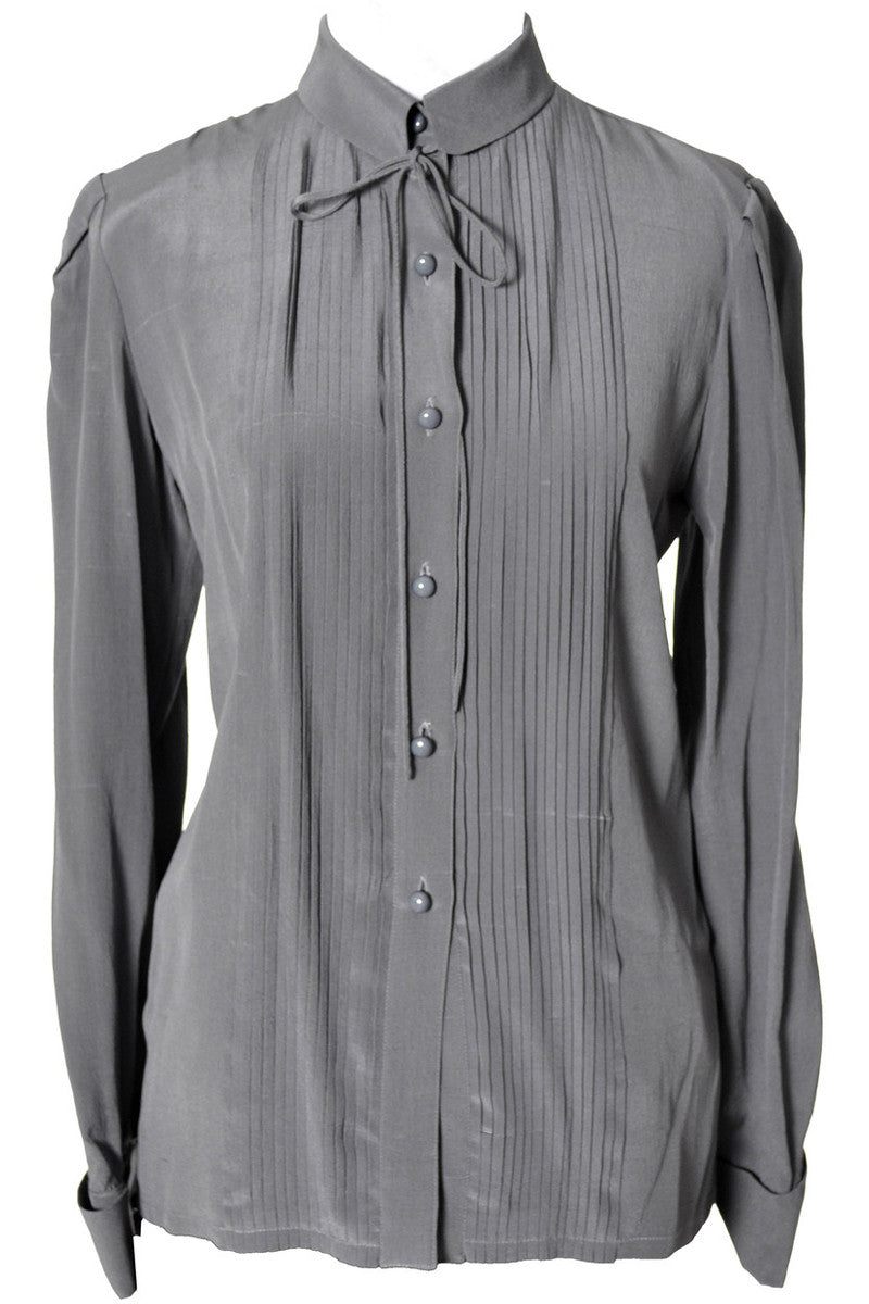 58e108776c6f4 Valentino Boutique gray vintage Silk blouse with tie – Dressing Vintage