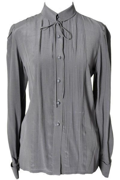 1970's Gray Silk Valentino Vintage Blouse - Dressing Vintage