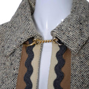 Vintage tweed cape with gold chain closure
