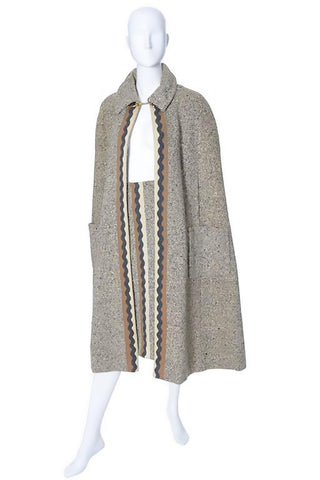 Long vintage tweed brown cape with chain clasp and skirt