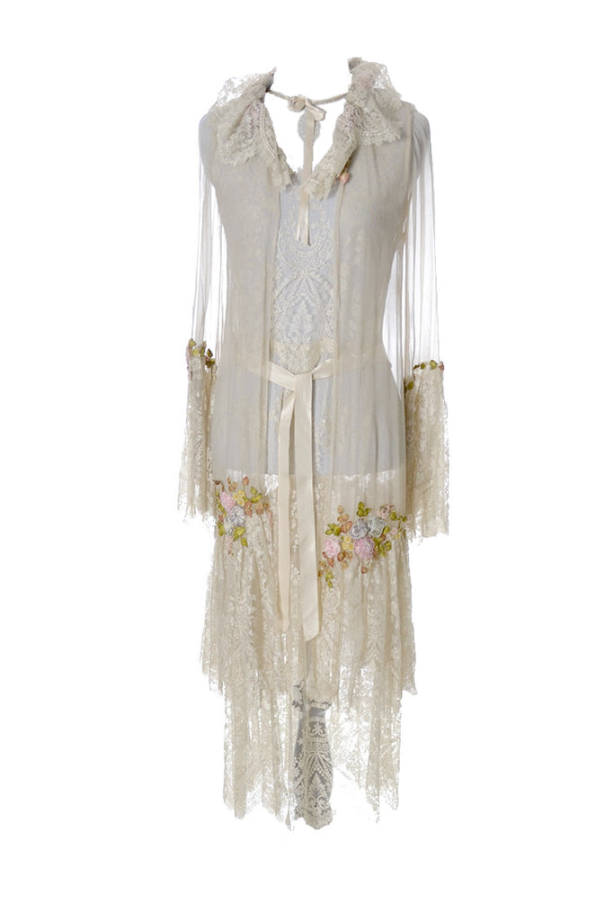 1920's RARE Vera West Fine Lace Peignoir Gown Robe Teddy Roses