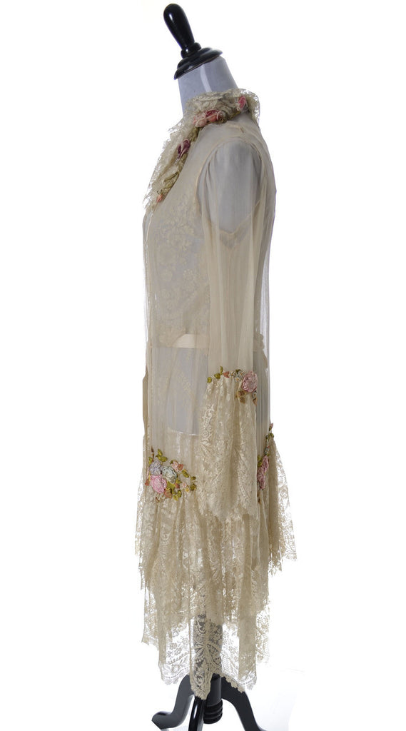 1920s Vera West Vintage lace peignoir nightgown robe teddy