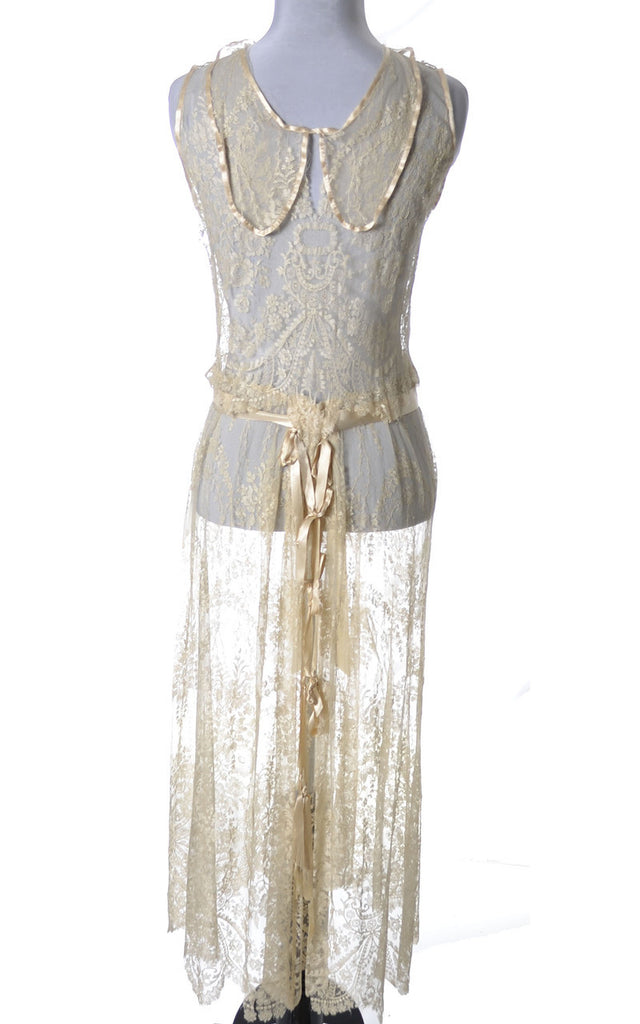 1920s Vera West Vintage lace peignoir nightgown robe