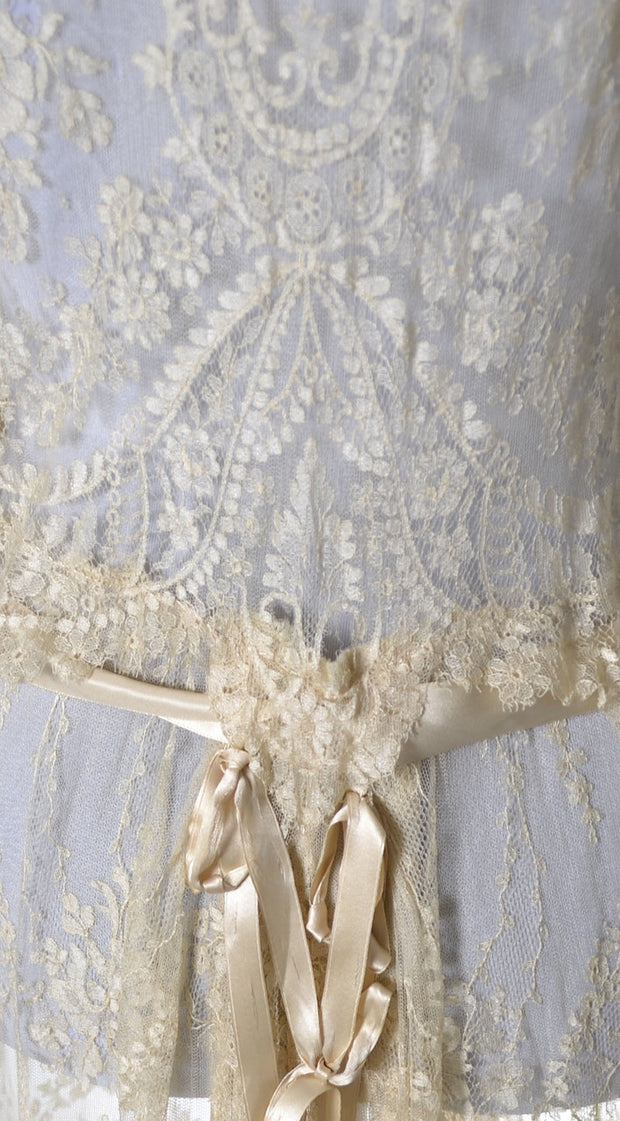 1920's RARE Vera West Fine Lace Peignoir Gown Robe Teddy Roses - Dressing Vintage