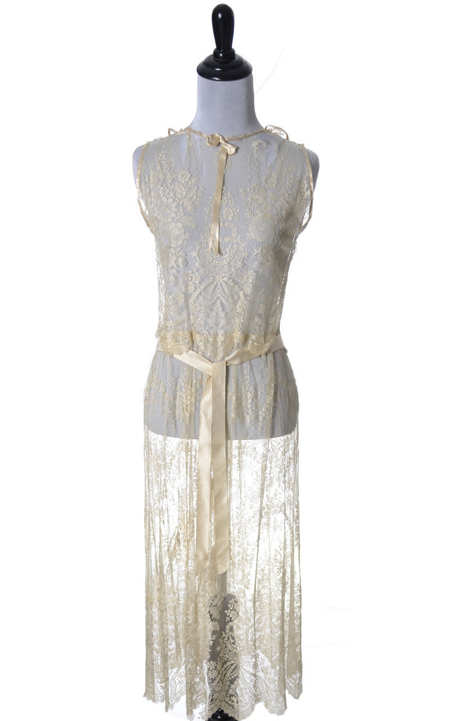 1920s Vera West Vintage lace peignoir nightgown robe teddy RARE