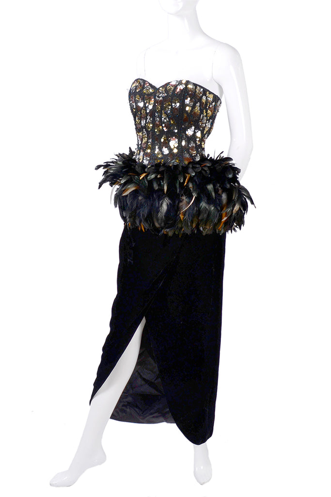 1980s Victor Costa beaded sequined feather vintage evening dress