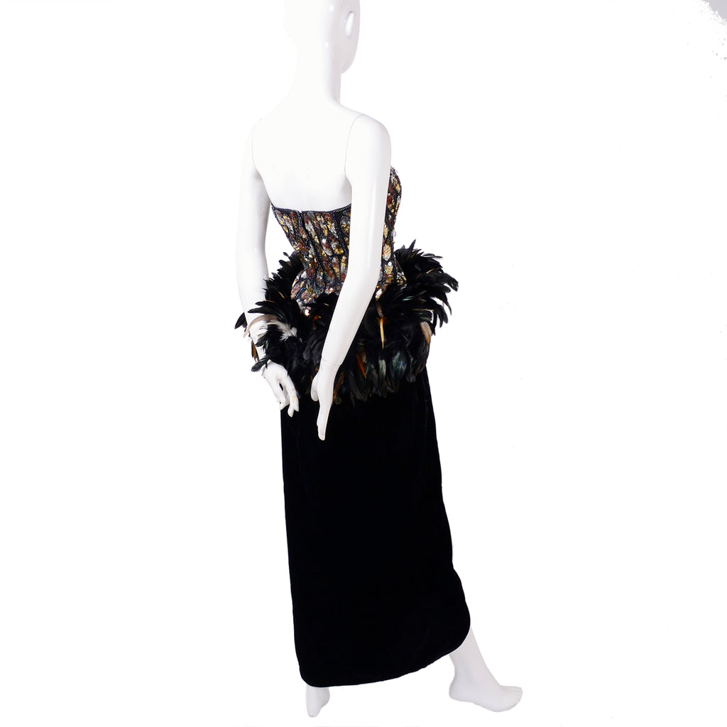 1980s Victor Costa vintage gown w/ beads sequins feathers